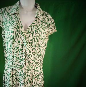 Tahari green white maxi dress